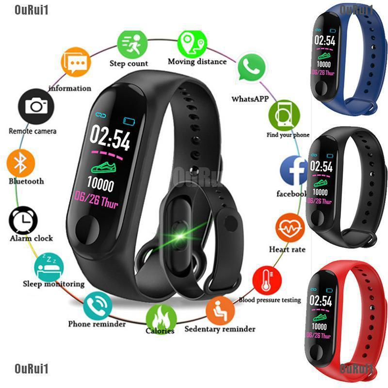 SC Smart Band Watch Bracelet Wristband Fitness Tracker Blood Pressure HeartRate M3 HS