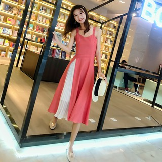 Chiffon suspender dress new women's tide fashion slimming very temperament goddess fan in the long skirt
