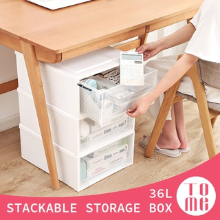 TOME 36L Storage Box Stackable Plastic Wardrobe Drawer Rack