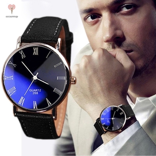 Men's Luxury Watch Funland Men Fashion Waterproof Latest Popular PU Leather Quar