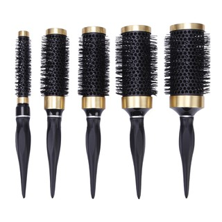 5 size Ceramic Iron Anti-static High Temperature Resistant Round Barrel Comb Hairstyling Hair Brush Curling Comb