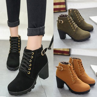 HOT Sale! Women High Top Heel Lace Up Ankle Boots Suede Shoes