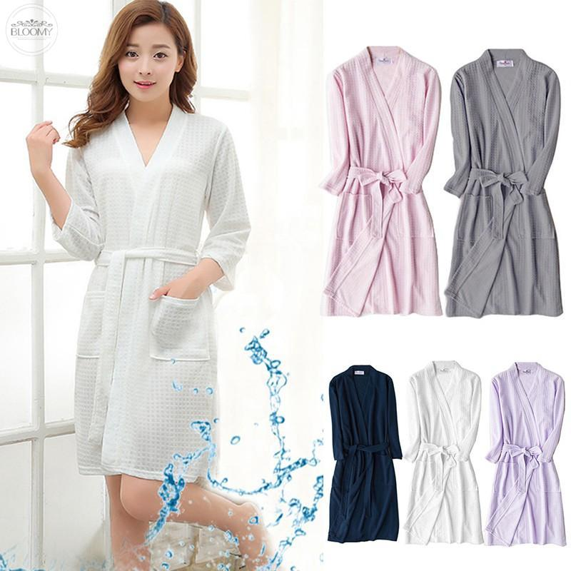 BLMLoose Women Men Cotton Blend Long Night-Robe Sleepwear Bathrobe Spa Shower Robes