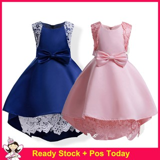 Summer Kids Party Clothes Wedding Princess Formal Bow Lace Pink Dinner Dress for Girls