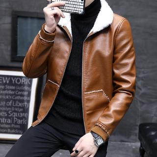 Fall and Winter Men's Leather Garment Men's Slim Short Jacket PU Leather Jacket with Fleece Collar