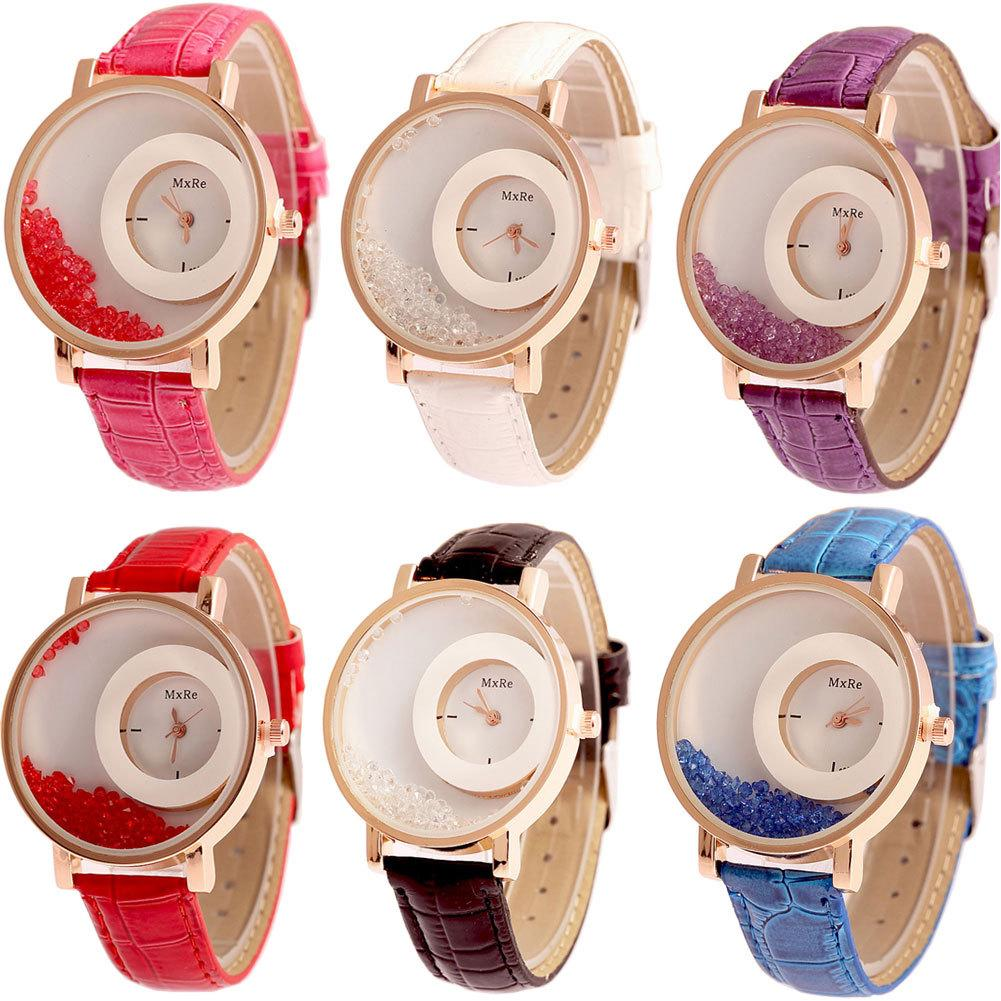 Hot ladies watch wholesale red running drill belt watch double round rolling drill multi-color leisure ladies watch
