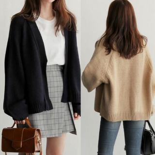 Loose Style Long-sleeved Knit Cardigan Fashion Casual Solid Color Women's Sweater