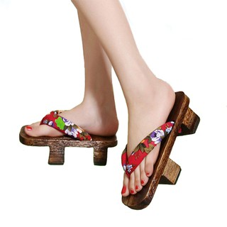 Japanese Traditional Sandals Geta Wooden Clogs Shoes for Men Women