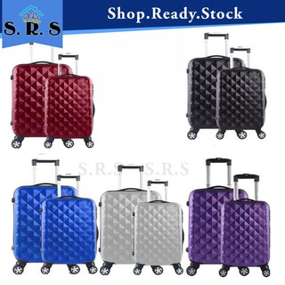 🔥HOTSALES🔥 Luggage Plain ABS Suitcase 20INCH+24INCH Travel Hard Case Luggage
