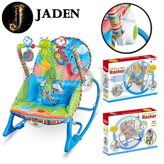JADEN Adjustable Infant To Toddler Rocker Music Baby Swinging Chair Reclining Seat Vibration Simulating Toy - 2242