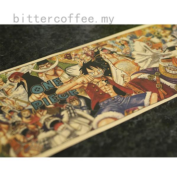One Piece Kraft Paper Posters Vintage Paper Anime Poster Home Decor 72x19cm
