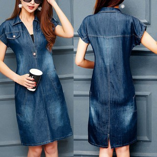 bsjstoreFashion Women Summer Denim Loose Lapel Short Sleeve Knee Length Dress