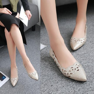 Elegant sequins hollow pointed shallow mouth flat bottom flat ladies single shoes low shoes sandals gold silver
