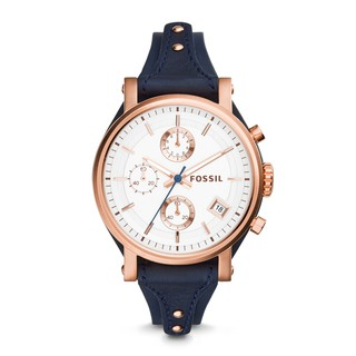 Original Fossil Watch Original Boyfriend Chronograph Navy Leather Watch ES3838