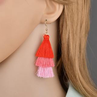[LBH] Bohemian National Style Multilayer Tassel Earrings 8cm - ER277