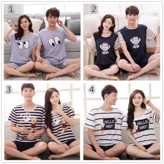 Short Sleeve Sleepwear Couple Sleepwear Pajama Set Men's Sleepwear 2 Set