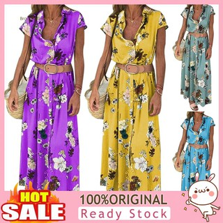 LYQBoho Flower Print V Neck Turn Down Collar Short Sleeve Women Maxi Dress with Belt