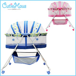 Cutiehaus Baby Rocking Cradle Bassinet Bed Set Foldable Rocking Bed With Wheels