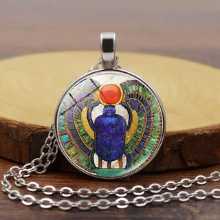 Jacksonrrr-MY Choker Necklace Egyptian Scarab Pendant Egypt Necklace Ancient Egypt Jewelry Round Glass Dome