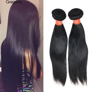 gregorio01 1 Bunch  Black  Virgin Human Hair Remy Hair Extensions Wigs