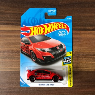 hot wheels honda civic type r red usa card
