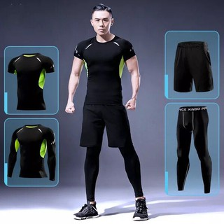 Men Gym Compression Fitness Tights  Sports Running Workout clothes 4 in 1