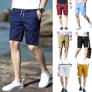 【Ready Stock】100% Cotton Casual Shorts Men's Pants Beach Shorts
