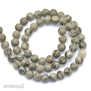 6mm Natural Grey Landscape Jasper Gemstone Round Loose Spacer Beads DIY