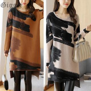 Ladies Dress Loose Irregular Autumn Winter Casual Sweater Knitwear Mini Ladies Long sleeve Crew neck Plus size