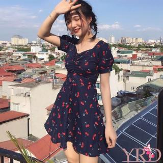 Korean Style Women V Neck Plaid/Cherry Print A-Line Mini Dress