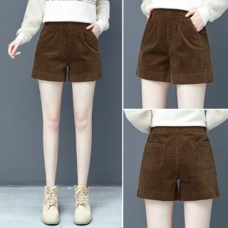 Corduroy Shorts Female Autumn And Winter Wear Wide Leg High Waist Loose