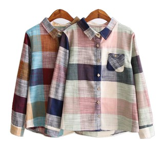 Ladies Casual Cotton Long Sleeve Plaid Shirt Women Slim Outerwear