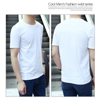 Ready Stock  Pure White&black Casual  Round Neck Short Sleeve men tshirt