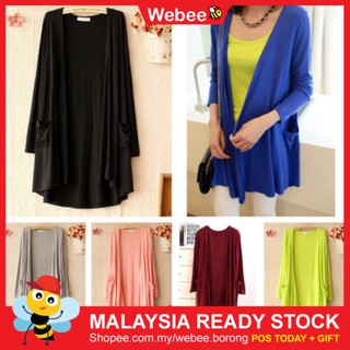 READY STOCK WEBEE Long Sleeve Women Dress Tops Soft Cardigan Baju Raya Cantik