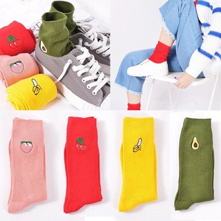 Hot New Cartoon Warm Cotton High Socks 3D Fruit Embroidery Hosiery
