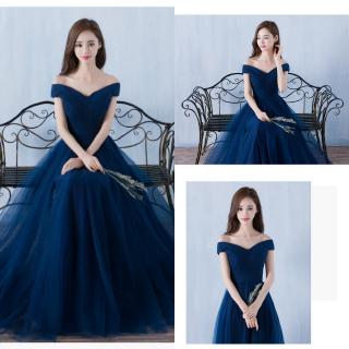 Women Dark Blue Bridesmaid Dress Long Sister Wedding Gown Dinner Evening Dresses Chiffon Chiffon temperament fashion