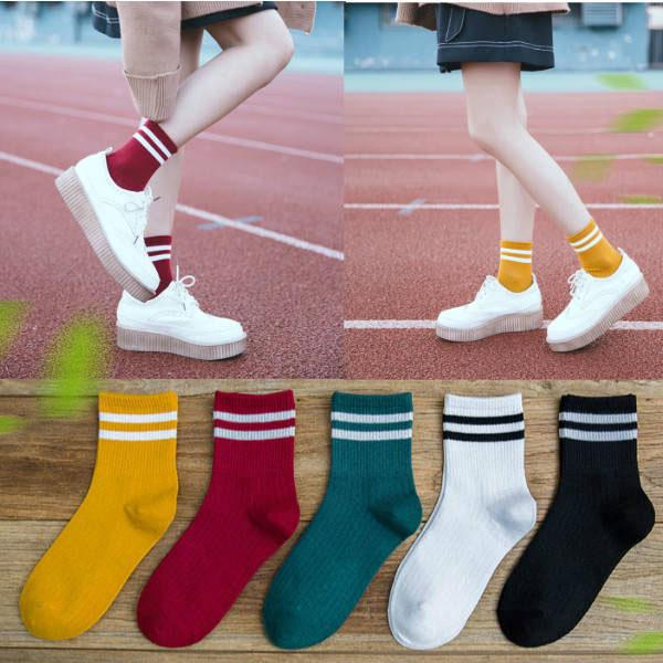 Fashion Women Korean Cotton Striped Socks Soft Cute Solid Sport Casual Hosiery