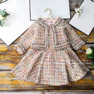 6594 Pearls Christmas Thanksgiving Toddler Princess Winter Autumn Baby Girl Clothing Set Outwear Coat + Dress   Clothes
