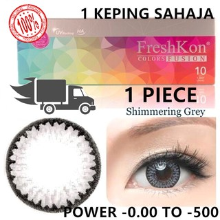 (0.00 to 500)(1 piece)freshkon fusion daily color shimering grey (loose pack)