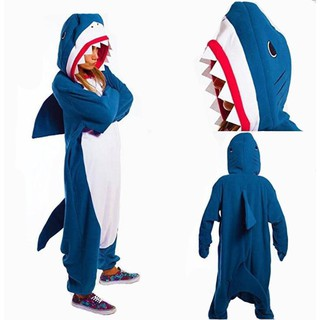 Shark Costume Winter Warn Man Animal Cosplay Polar Fleece Kigurumi Onesie