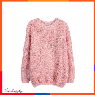 Women's Autumn Casual Loose O-neck Off Shoulder Long Sleeve Knitted Sweater