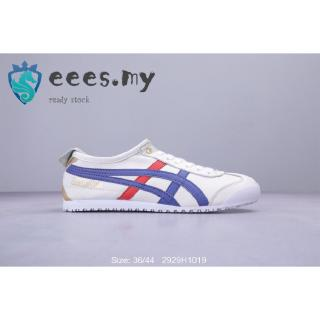 Eees Asics/Onitsuka Tiger MEXICO 66 Sport Sneakers Leather Shoes Men/Women Size 36-44 White Blue Color