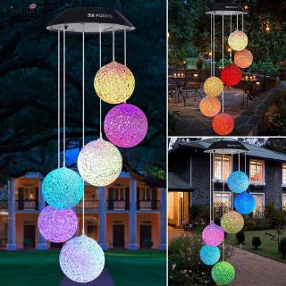 LL1 Outdoor Solar LED Ball Light Colorful Wind Chime Light Decoration Lamp