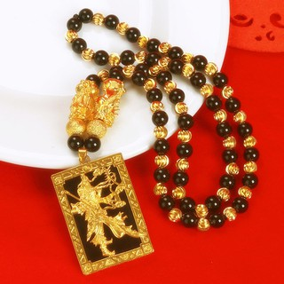 ▣○Ms long do not fade Vietnam alluvial gold male chalcedony obsidian sweater chain duke guan pendant plated necklace