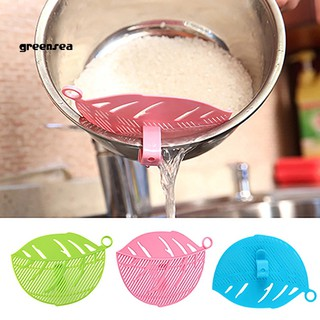 Greensea_Leaf Shape Rice Wash Sieve Beans Peas Filter Cleaning Gadget Kitchen Clip Tool