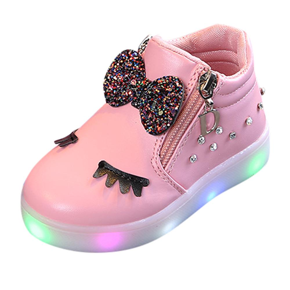Kids Baby Infant Girls Crystal Bowknot LED Luminous Boots