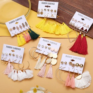 Women Tassel Fringe Bohemia Elegant Drop Dangle Earrings