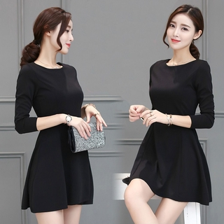 Readystock Black long sleeve skater dress office formal OL