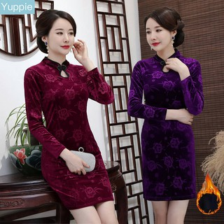 Mother wear Chinese style plus velvet gold velvet cheongsam dress74