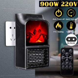 【SHOUSE】900W 220V Remote Control Portable Electric Heater Fan Air Warmer Fireplace Flame Timer Home Living Gift Black